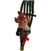 Knee Hugger Elf on Sled Vintage Christmas Ornament Kneehugger Elves Made in Japan