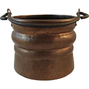 Hand Hammered Copper Hanging Pot with Cast Iron Handle