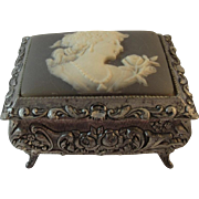 Linden Sankyo Cameo Top Music Box Repousse Rose Design Plays Theme of Paganini Rachmaninoff