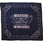Wolverine Work Gloves Advertising Blue Bandana Hankie Handkerchief Pigksin Pete & Horsehide Harry