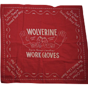 Wolverine Work Gloves Advertising Red Bandana Hankie Handkerchief Pigksin Pete & Horsehide Harry