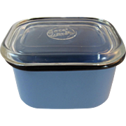 Beco Ware Blue Refrigerator Dish Enamelware with Black Trim Enamel Vintage Retro Kitchen Kitchenware