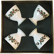 Christmas Holly Egg Cups by Crown Staffordshire Bone China England English in Original Box