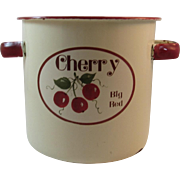 Big Red Cherry Cream Enamelware Canister with Red Trim Enamel Ware Vintage Kitchen Kitchenware