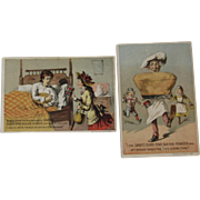 2 Canby Silver Star Baking Powder Humorous Victorian Trade Cards Lithograph Advertising