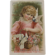 1894 Perfumed Calendar Rubifoam for the Teeth Girl with Birds and Flowers Hoyt's German Cologne Trade Card