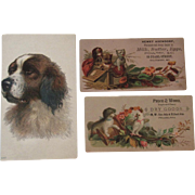 3 Victorian Dog Trade Cards Advertising Baltimore, Philadelphia and Furnaces