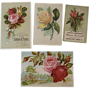 4 Roses Trade Cards Willett's Coffee Pink Red and Yellow Victorian Advertising