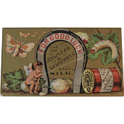 Brainerd & Armstrong Spool Silk Sewing Thread Victorian Trade Card with Good Luck Horse Shoe, Cherub and Silkworm