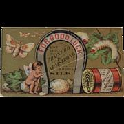 Brainerd & Armstrong Spool Silk Thread Victorian Trade Card with Good Luck Horse Shoe, Cherub and Silkworm