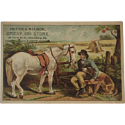 Horse Dog & Boy 99 Cent Store Victorian Trade Card Lithograph Harrisburg, PA