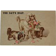 Day's Soap Dog Poodle Flowers Victorian Trade Card