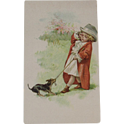 Lion Coffee Dog & Boy Victorian Advertising Trade Picture Card