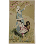 Domestic Sewing Machine Dog Victorian Trade Card with Cherry Blossoms, Mother and Child