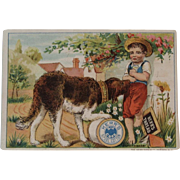 Kerr's Thread Rover Dog Victorian Trade Card Spool Cotton for Sewing Highway Robbery Cottage Backdrop