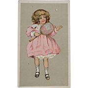 Girl Playing Tennis Edwardian Ad Trade Card for Thistle Sunshine Range
