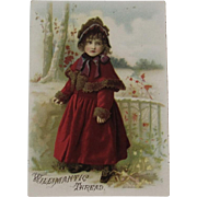 1887 Willimantic Thread Victorian Trade Card Little Girl in Red Fur Trimmed Coat