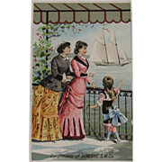 Domestic Sewing Machine Victorian Trade Card with Sailboat Mother and Child