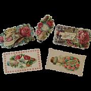 5 Diecut Scrap Victorian Calling Cards Pink Rose Die Cut Floral Flowers Roses