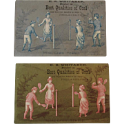 2 Victorian Trade Cards Royal Lawn Tennis Badminton Coal Dealer