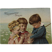 Willimantic Thread Children Catching Butterflies Victorian Sewing Advertising Trade Card Butterfly Net Chromolithograph