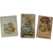 3 Girls & Dolls Victorian Trade Cards Blasius Piano Arbuckle's Ariosa Coffee and Day's Soap