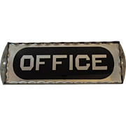 Art Deco Office Sign Reverse Painted Scalloped Edge Glass Silver & Black