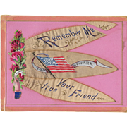USS Newark Die Cut and Silk Sweetheart Remembrance Folk Art Patriotic
