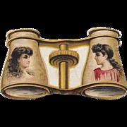 Die Cut Victorian Trade Card Kinney Bros Novelties Opera Glasses Cigarette Advertising