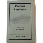 1945 WWII USS WASP Passenger Regulations for Troop Transport Booklet World War II 1945