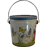 Tin Easter Pail Audrey Christie Illustrated with Cat, Bunny, Chicks, Duck, Rooster, Flowers and Butterfly