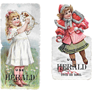 Die Cut Paper Dolls Girl with Dog & Snowballs Herald Stoves and Ranges Victorian Advertising Trade Cards Diecut