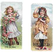 Die Cut Paper Dolls Girls with Flowers and Fruit Herald Stoves and Ranges Victorian Advertising Trade Cards Diecut