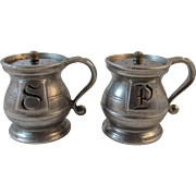 Wilton RWP Pewter Salt and Pepper Shakers Plough Tavern Farmhouse Farm Decor Vintage Kitchen Tableware