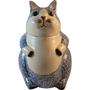 N.S. Gustin Co Cat Cookie Jar Blue White Spongeware Kitty Hand Decorated Made in USA NS N S Vintage Kitchen Kitchenware
