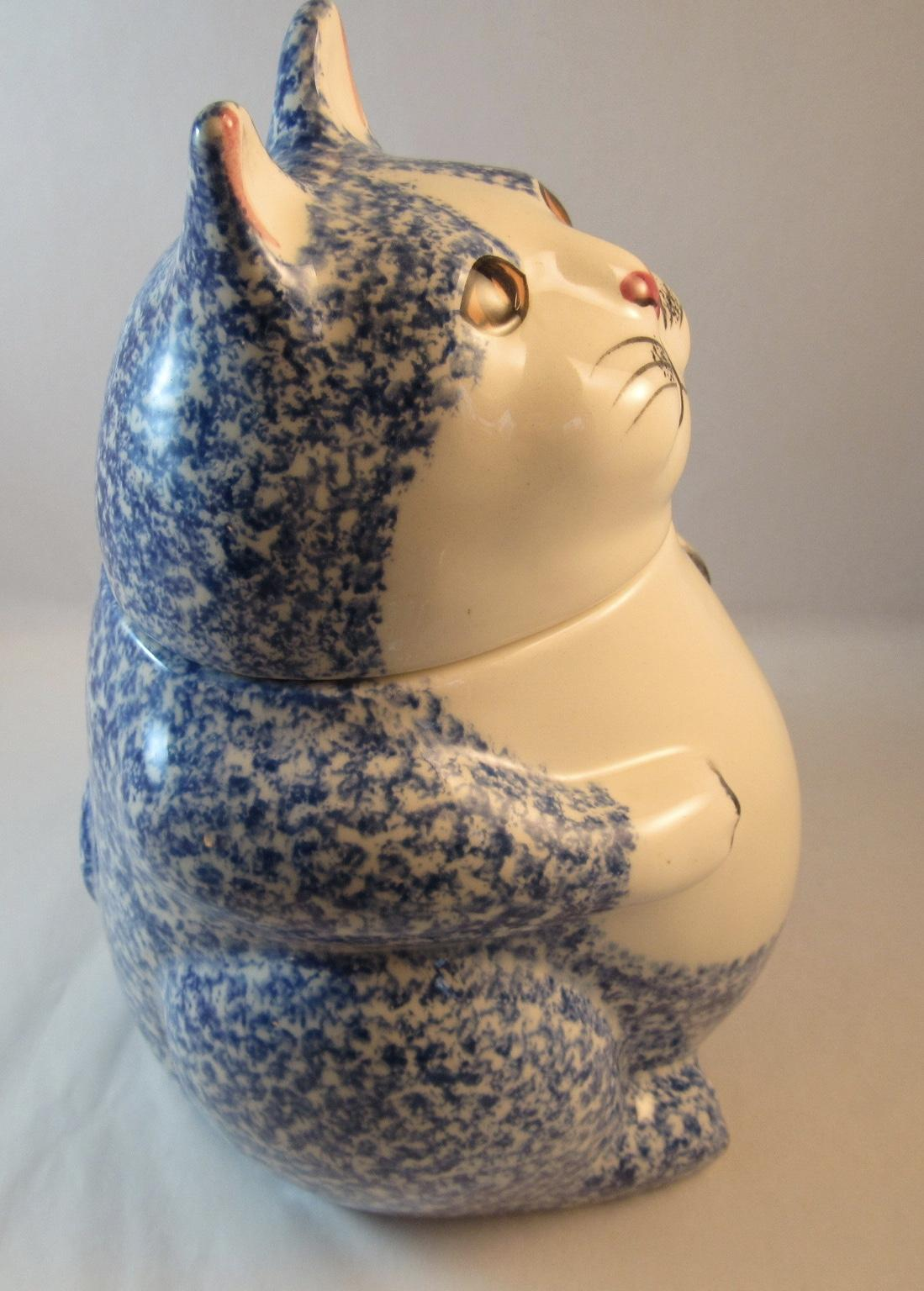 N S Gustin Co Cat Cookie Jar Blue White Spongeware Kitty