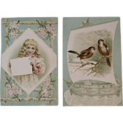 2 Woolson Spice Lion Coffee Advertising Trade Picture Cards Victorian Birds and Meditation