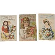 3 Victorian Perfume Trade Cards Perfumed by Austen's Forest Flower & Floreston's Cologne Ladies Roses