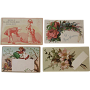 4 Salesman Sample Victorian Trade Cards