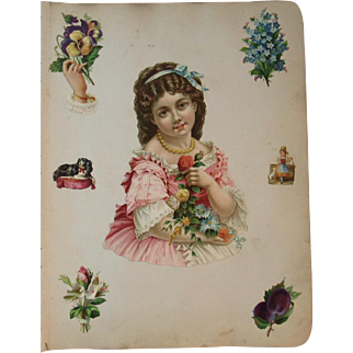 1880s 4 Victorian Scrapbook Pages Large Girl Diecut with Smaller Flower Diecuts, Dog, Fruit, Birds, People Die Cut