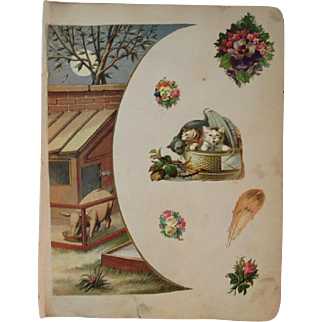 1880s 2 Victorian Scrapbook Pages Cats Dog Horse Pig Diecuts Die Cuts and More