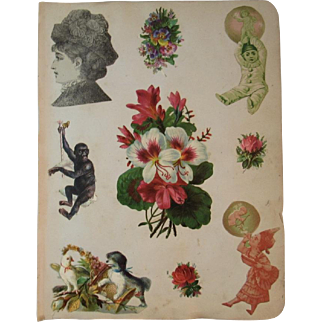 1880s Victorian Scrapbook Page Monkey Dog Diecuts Die Cuts and More