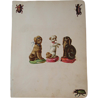 1880s 2 Victorian Scrapbook Pages Dog Diecuts Die Cuts and More