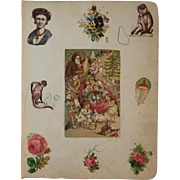 1880s 2 Victorian Scrapbook Pages Christmas, Santa, Monkeys, Black Americana Diecuts Die Cuts and More