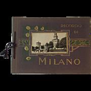 Ricordo Di Milano Book Sepia Photograph Prints Milan Italy Souvenir Booklet