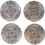 4 Blue Onion Reticulated Plates Pattern Variant