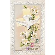 1910 John Winsch Easter Postcard Dove Lilies and Cross