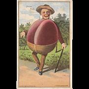 1887 Vegetable People Plum Full Trade Card Mr. Plum Victorian Trade Card Baltimore Anthropomorphic