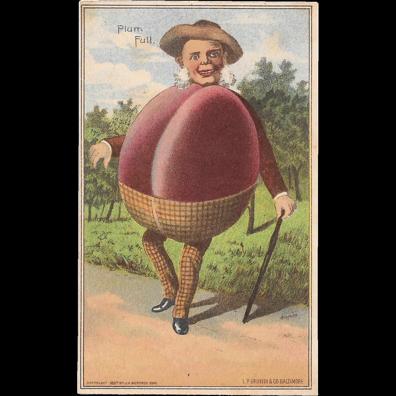 1887 Vegetable People Plum Full Trade Card Mr Plum