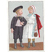 Lion Coffee The Yankee Boy and Girl Traveling in American Costume Victorian Advertising Trade Picture Card Harry and Carrie